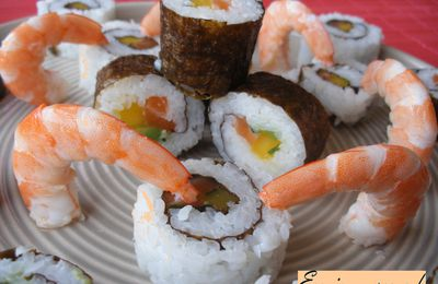 Makis inversés saumon et mangue