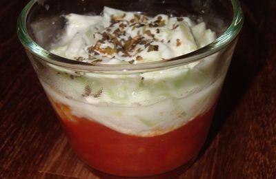 Verrine concassée de tomates au basilic, mozza et tartare de concombre (Par Virginie)