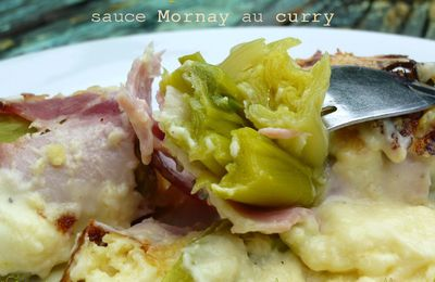 Gratin de poireaux au bacon sauce Mornay au curry