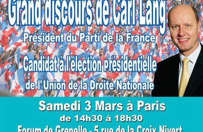 Tous avec Carl Lang le 3 mars à Paris