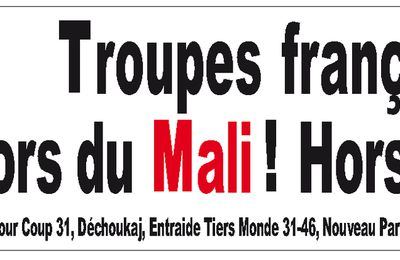 Rassemblement le 02 Mars : Troupes françaises hors du Mali !