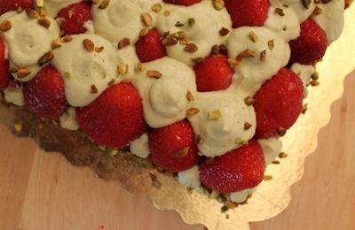 Tarte à la fraise, crème de pistache