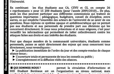 Profession de foi SUD étudiant - Elections de Bordeaux 3