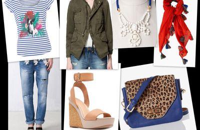 Look jean boyfriend # 4 # : veste army, sac léo Globe, t-shirt Comptoir des Cotonniers...