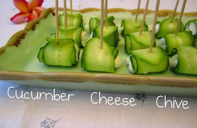 Concombre 'roulé' à la crème à la ciboulette