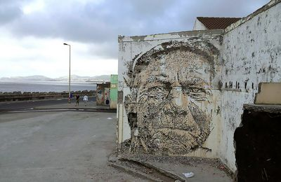 Roa new murals in Ribeira Grande, Portugal