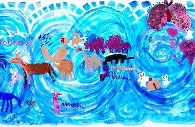 Fresque des aninmaux avec les enfants du Centre Social SFM