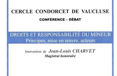 Ma prochaine conférence: Droits et responsabilité des mineurs.
