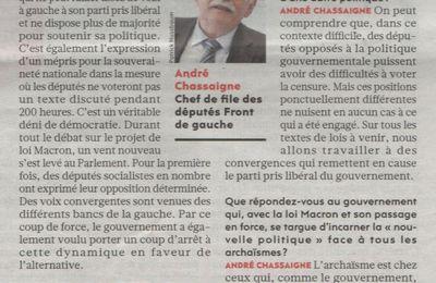 """André CHASSAIGNE : """"Un vent nouveau s'est levé au Parlement""""."""