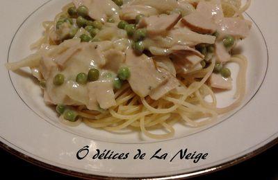 Spaghetti au poulet et aux petits pois sauce moutardée