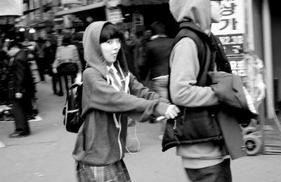 Couple in the streets of Seoul