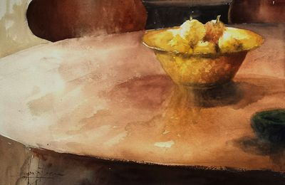 Aquarelle de nature morte aux citrons