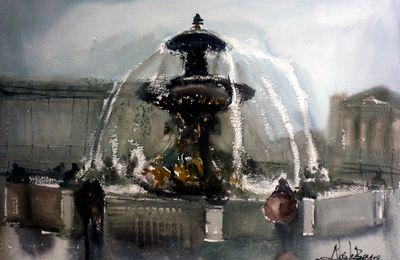 Fontaine Parisienne à l'Aquarelle
