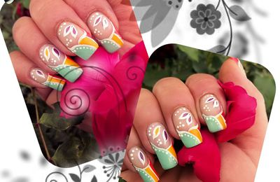 Nail art french fluo