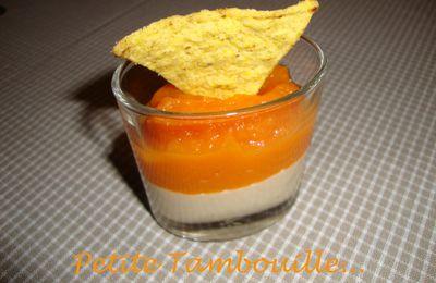 Verrine au houmous et purée de carottes