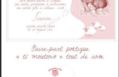 """Faire-part naissance """"ti moutons"""""""