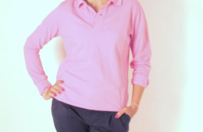 Polo manches longues rose