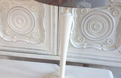 Lampe de notaire revisitée patine blanche