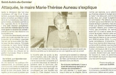 Démissions : article de Ouest-France du 6 octobre 2010