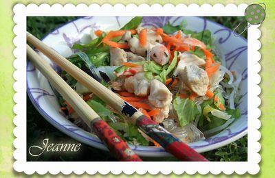 Salade asiatique aux crevettes et poulet