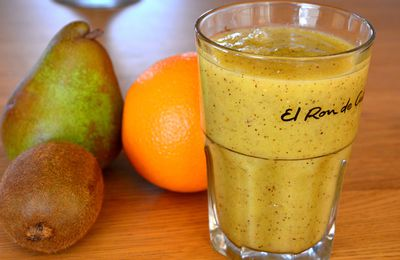 Un petit smoothie orange, kiwi, poire, gingembre en passant…