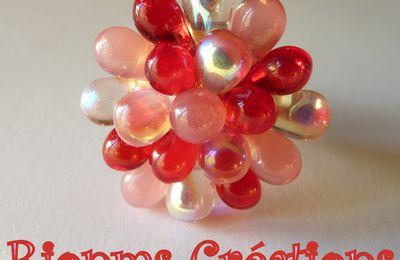 Nouvelle bague réglable Gouttes, rose et rouge