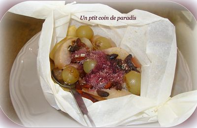 Papillote de fruits au coulis de framboises ...