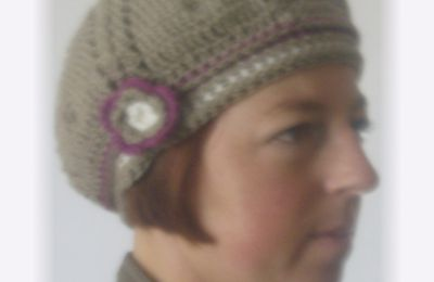Ensemble béret et snood point écailles - crochet
