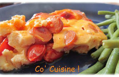 Clafoutis aux tomates cerises et saucisses de strasbourg + partenaire