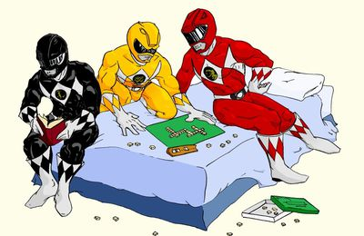 Les power rangers jouant au scrabble