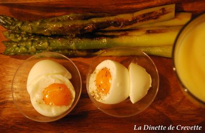 Oeufs mollets, Asperges vertes rôties & Sauce Hollandaise (Hop, on remonte ;)
