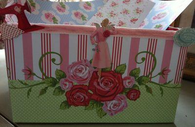 Avec une boite en carton :Une poubelle à papier scrapée couture et romantique