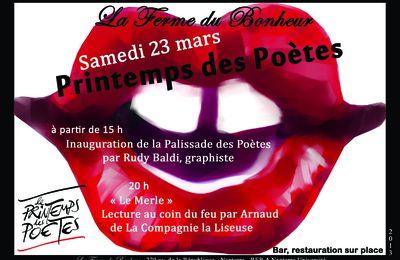 Le Printemps des Poètes à l a Ferme du Bonheur - Samedi 23 mars dès 15h !!!