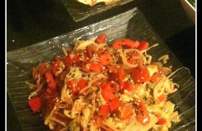 chou chinois sauté au poivron et au soja / sesame