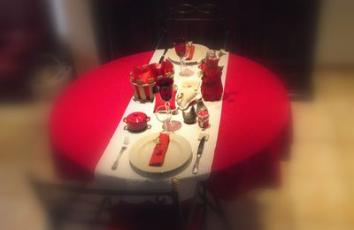 table rouge et beige........