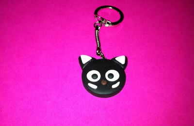 Porte clefs Tête de chat en pâte fimo - Version Chococat