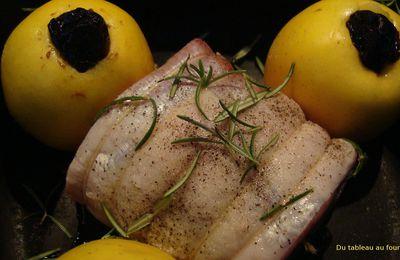 Rôti de porc farci: figues et romarin,pommes Tentation et pruneaux
