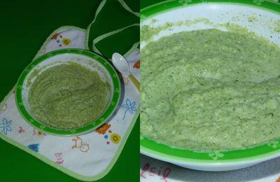 Purée de brocolis, Kiri et filet de sabre