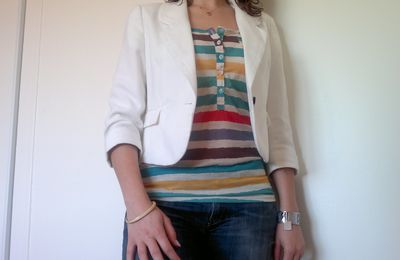 Colored strips and ivory jacket