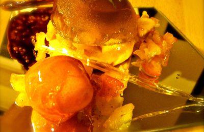 Sablé breton, compotée de pommes et de kumquats, gelée de cidre et chocolat au gingembre