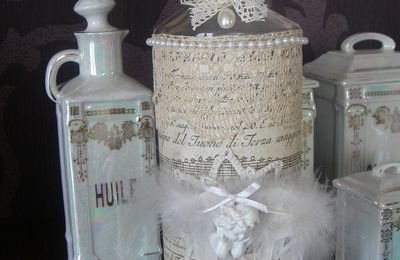 Bouteille scrappée shabby