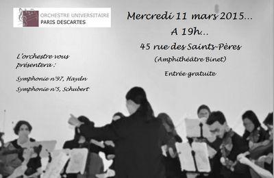 Concert du mercredi 11 mars 2015: découvrez les programme!