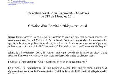 Prévoyance et comité d'éthique (CTP du 15/10/14).