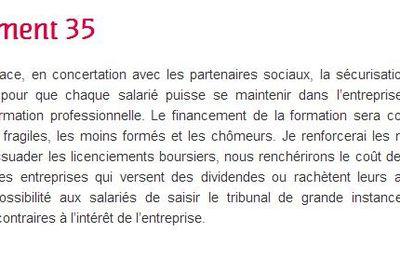 L'urgence de l'engagement 35 de François Hollande : Lutter contre les licenciements abusifs