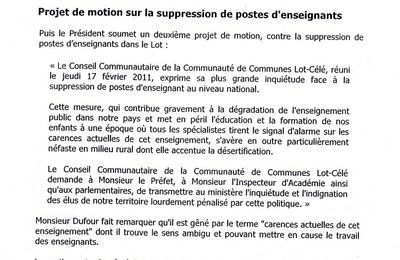 MOTION SIGNEE PAR LA COMMUNAUTE LOT / CELE