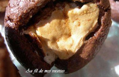 Petites bouchées chocolat coeur de nougat