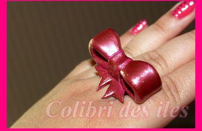 Nail art rose bonbon et 1er essaie bague noeud!