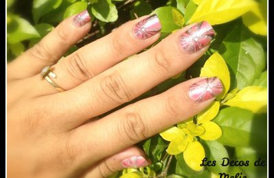 Nail art water marble rose et argent