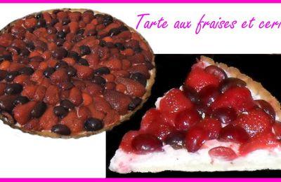Tarte aux fraises et cerises et mousse chantilly