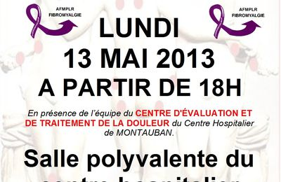 JOURNEE INTERNATIONALE DE LA FIBROMYALGIE LUNDI 13 MAI 2013